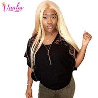 Vanlov 613 Синтетические волосы на кружеве человеческих волос 613 Блондин Синтетические волосы на кружеве парик перуанский прямо перед lace парик