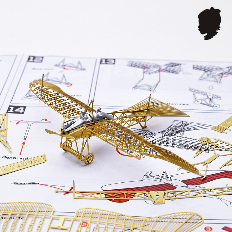 1/160 Etrich Taube Cel de-al doilea război mondial, restabilirea vechii porumbei Scoala 3D Modelul de metal asamblat Puzzle