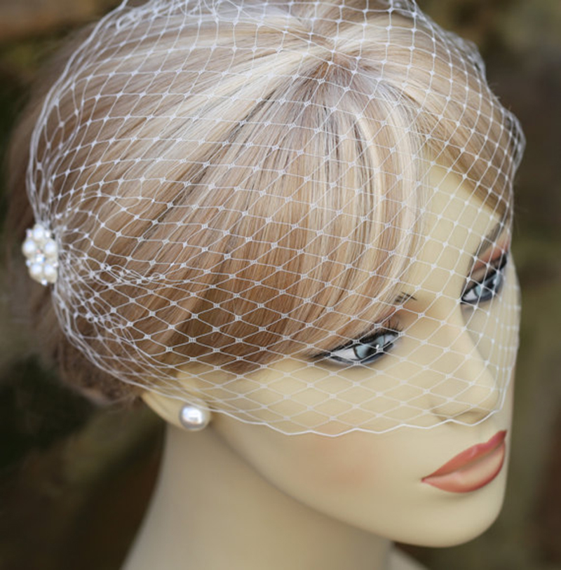 Romantic Wedding Hats And Fascinators For Woman Party White Net Pearls Beaded Face Veil Lady Bridal Simple Wedding Accessories