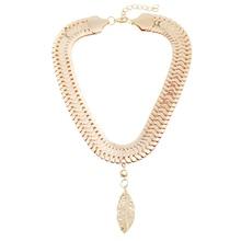 Fashion Women Metal Crystal Leaf Pendant Collar Choker Chain Necklace Jewelry