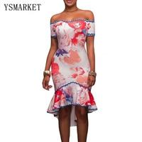 2017 Red Floral Print Sexy Party Samba Short Mermaid Dress Women Slash Neck Elegant Off Shoulder