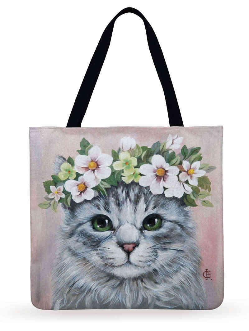 再利用可能なショッピングバッグ猫フラワープリントトートバッグレディースショルダーバッグリネン生地バッグ屋外ビーチバッグ毎日手バッグ