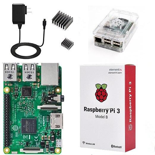4 в 1 Raspberry Pi 3 комплект Wi-Fi и bluetoothal Raspberry Pi 3 Модель B + радиаторы с Питание + прозрачный АБС Пластик случае