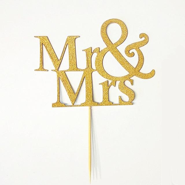 New Hot Sale Party Supplies 20 Pcs Gold Glitter Mr Mrs Cupcake Cake ...
