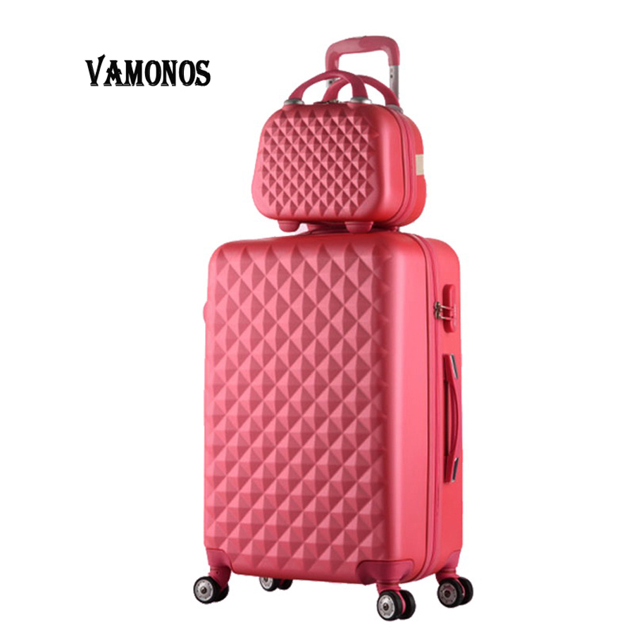Hot fashion sales Diamond lines Trolley suitcase set/travell case luggage/Pull Rod trunk rolling spinner wheels/ABS boarding bag
