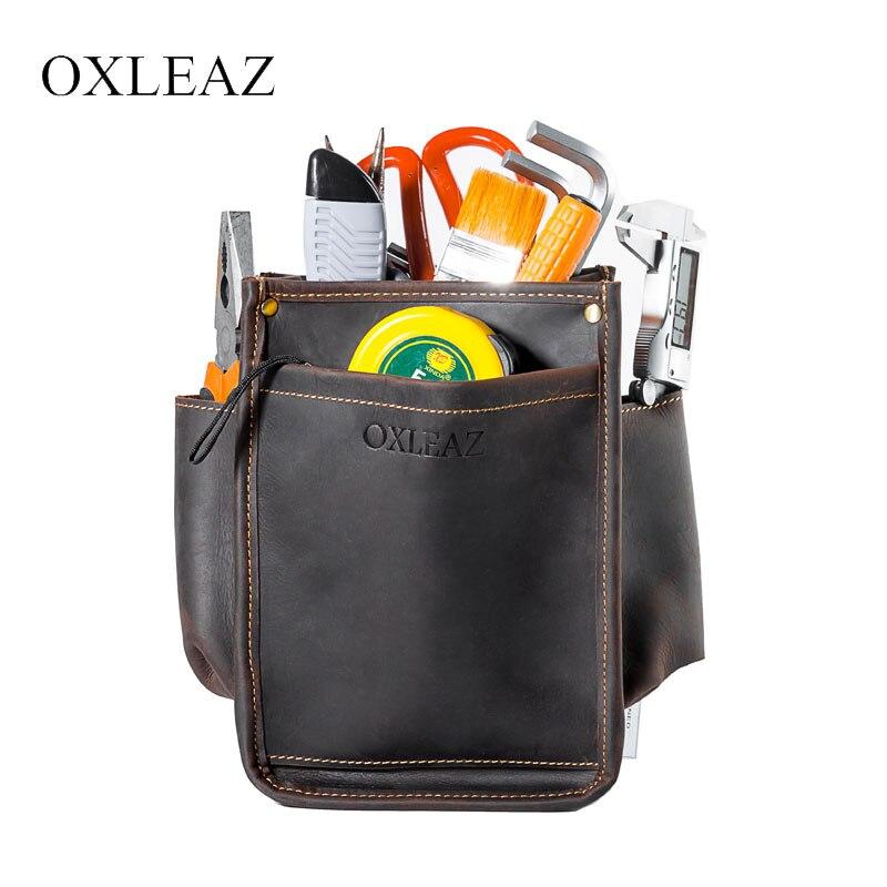 OXLEAZ Durable Fanny Packs hommes taille sac ceinture sacs Crazy Horse cuir taille pochette organisateur sac pour matériel outil ceinture sac