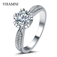 Big Promotion! Luxury Pure White Gold Filled Engagement Ring Set 1 Carat Sona CZ Zircon Wedding Rings For Women AR015