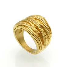 Stainless Steel fashion Rings 2017 New Arrival Female Luxury Genuine Jewelry Gold-color Multilayer Wedding Rings For Women