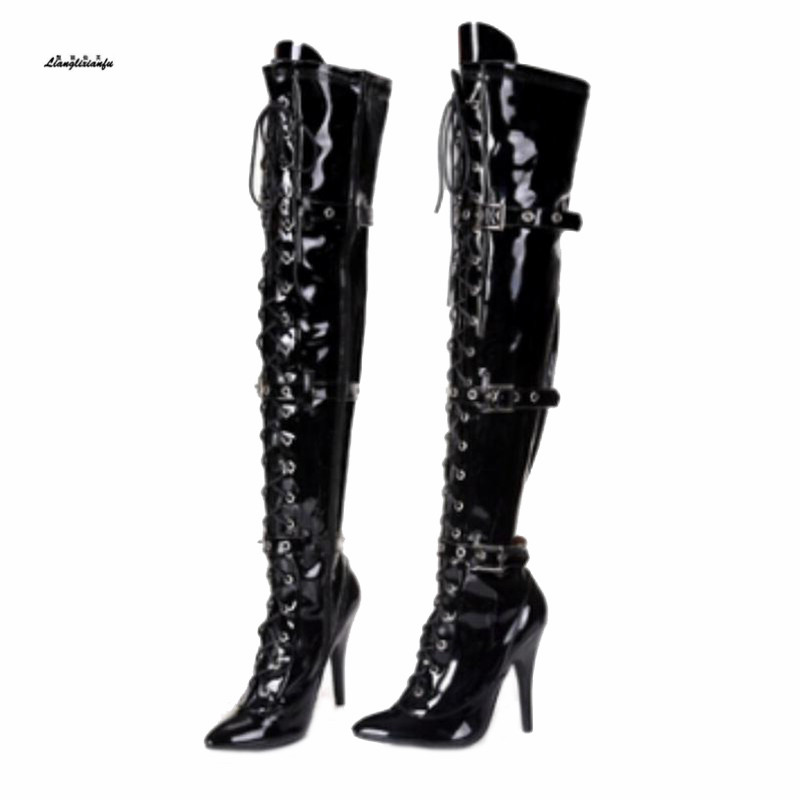 Plus:34-45 sexy botas mujer over-the-knee boots buckle lacing 12cm heels boots womens dance boot Novia o Dama Botas Altas MujerPlus:34-45 sexy botas mujer over-the-knee boots buckle lacing 12cm heels boots womens dance boot Novia o Dama Botas Altas Mujer