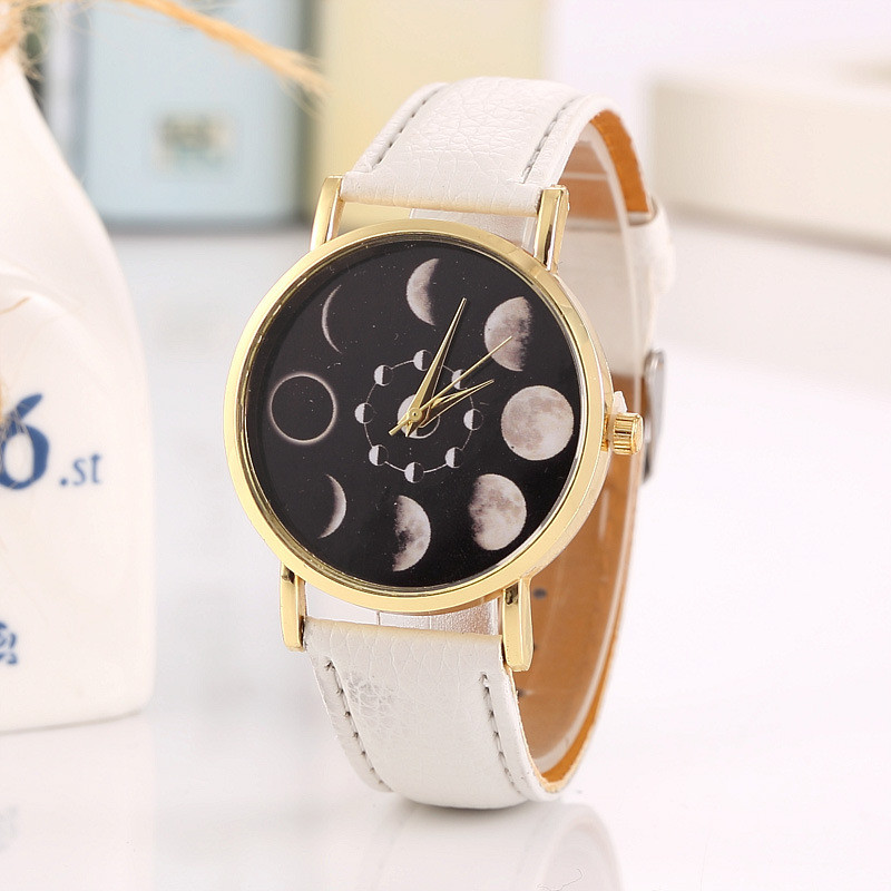 Competent Solar Moon Phase Lunar Eclipse Watch Women Stylish Quartz Watch Leather Bracelet Watches For Women Clock Hour Relogio Masculino Women's Watches