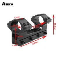 Askco Hunting 25,4mm 1 una pieza de perfil bajo alcance de cola de milano anillos de montaje 11mm riel para Caza Riflescope linterna Caza