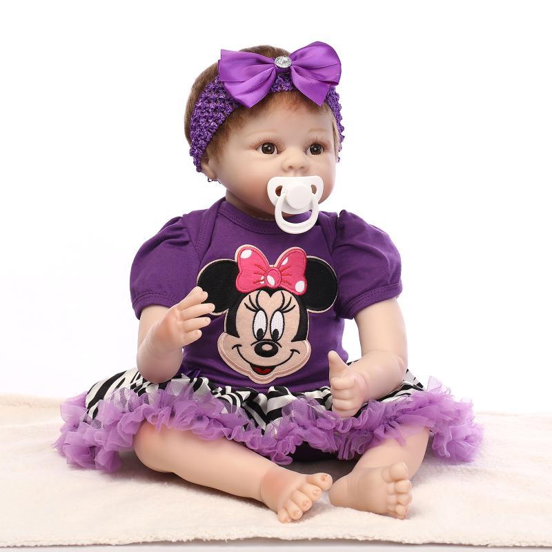 55cm Silikon Reborn Baby Doll Leksaker leksaker leksaker 22Inch Brinquedos Bebe Bonecas för flickor dockor samling