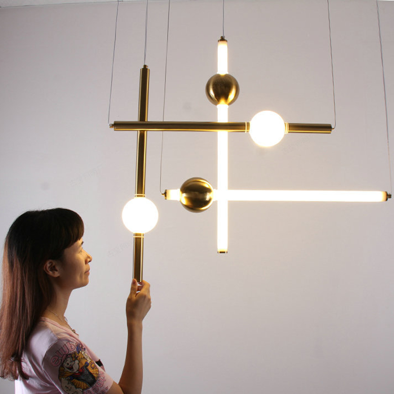 Nordic LOFT Golden LED Pendant Light Long Stick Noble Living Room Hotel Hall Hanging Light Fixtures