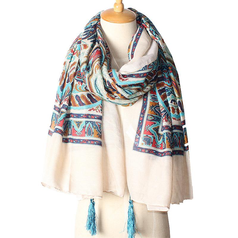 Light Blue Tassels Design Scarves | Shawls & Wraps