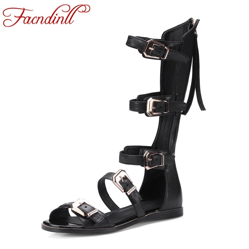 FACNDINLL new genuine leather shoes summer boots punk metal rivets knee high boots flat shoes woman sexy cut-outs summer shoes 2015 new deluxe brand 100% high quality flat summer women knee high gladiator sandals genuine leather cut outs cover heel shoes