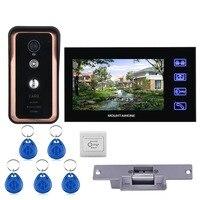 Сенсорный ключ проводной 7 дюймов видео телефон двери видеодомофон дверной звонок Система 1 монитор 1 RFID IR-CUT камера + электрический замок