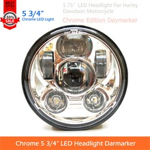 1 Pc 5 3/4 5.75 Inch Round Chrome Edition LED Projector Headlight Daymarker For Harley Davidson Motorcycle