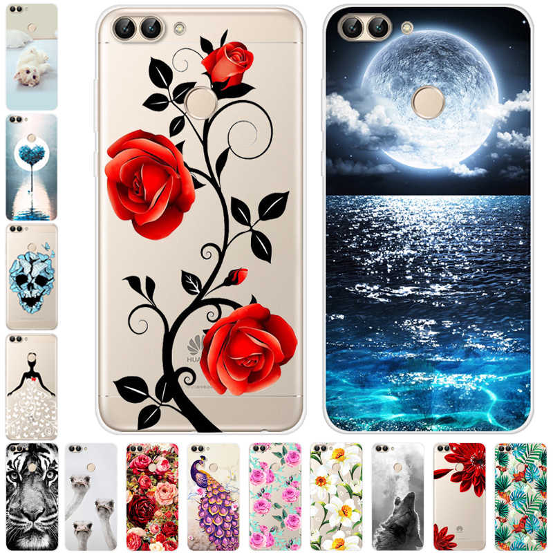 Voor huawei P Smart Case 2018 Siliconen Soft TPU Tiger phone case voor huawei P Smart back Cover PSmart voor huawei enjoy 7s gevallen