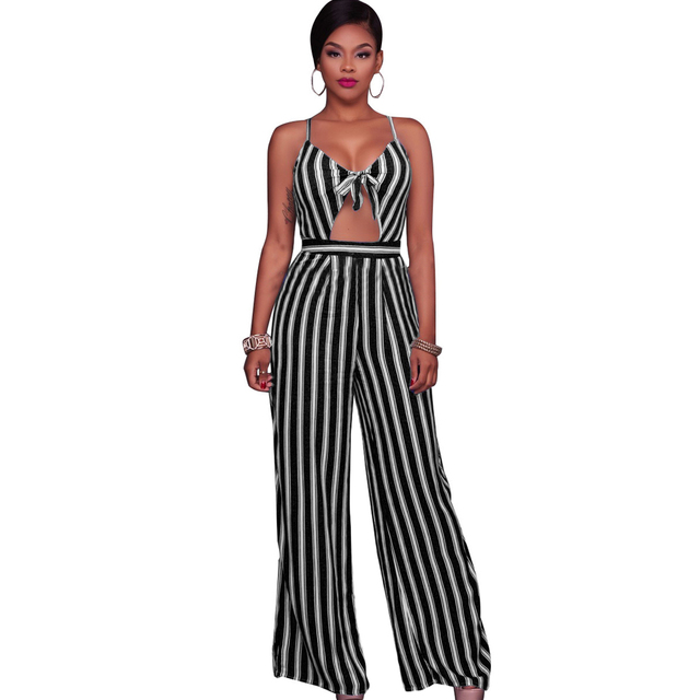 f8b3e6acbd54 Women Sexy Club Jumpsuit Romper Spaghetti Strap Striped Combinaison Femme  Lace Up Summer Overalls Backless Sexy Long Playsuit