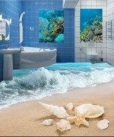 Özel PVC Zemin Duvar Kağıdı Duvar Resimleri Modern 3D HD Fotoğraf Duvar kağıt Romantik 3 d Okyanus Plaj Oturma Odası Banyo Zemin duvar kağıtları