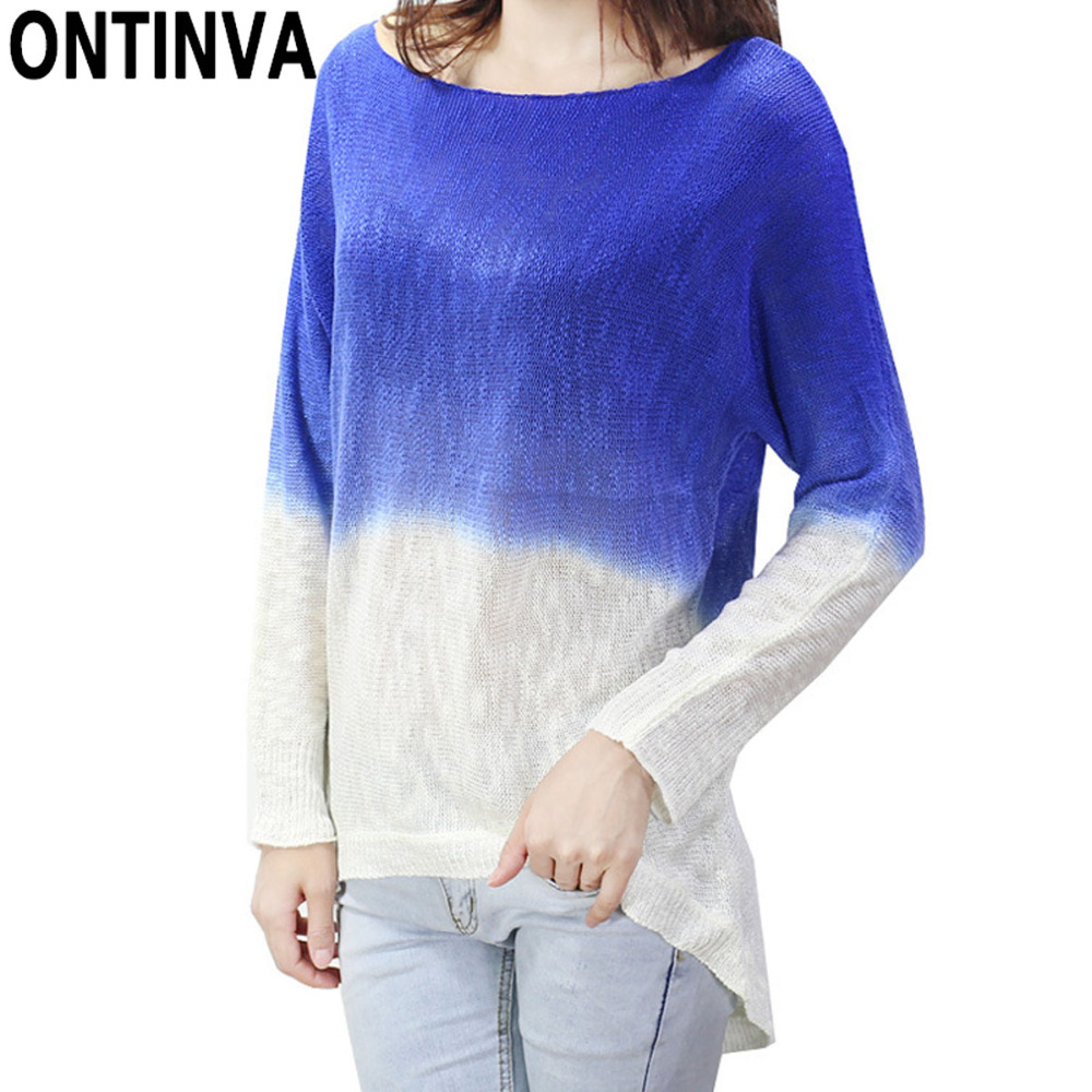 7ab97cc6eed2 Girls Fashion Gradient Color Thin Sweaters Crochet Woman Casual O Neck  Pullovers Long Sleeve Tops Mujer Femme Knitted Jumper-in Pullovers from  Women s ...