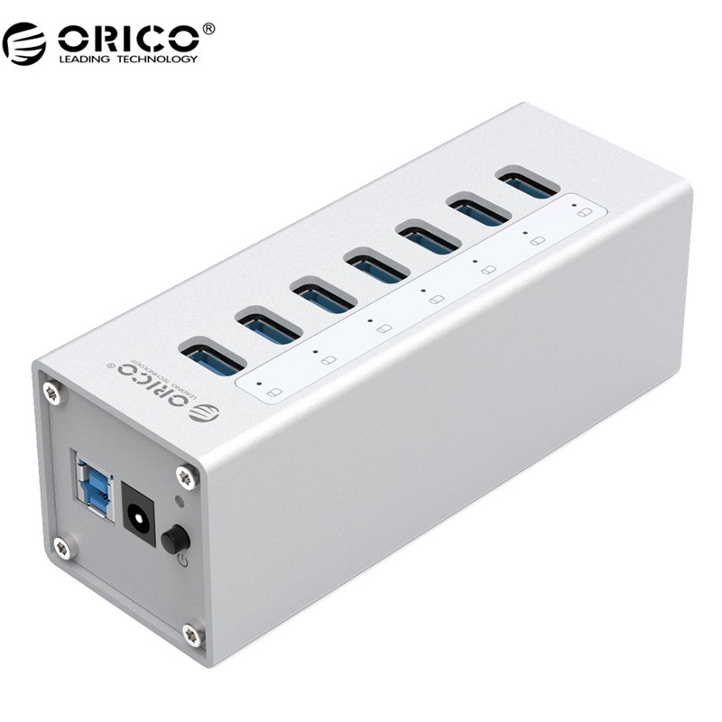 где купить ORICO High Speed Aluminum USB HUB Splitter 7 Port USB 3.0 HUB With 12V2.5 Power Adapter For Windows Mac OS PC/ Laptop -Silver дешево