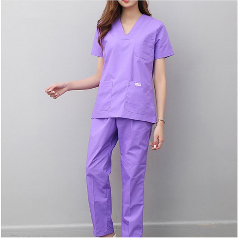 New Style Women And Men Medical Uniforms Nursing Scrubs Clothes Short Sleeve Coat Doctor Clothing Brush Hand Clothing V-collar