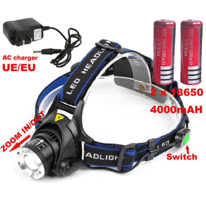 <font><b>Best</b></font> price headlight XM-L T6 LED 2000lm Headlight Head Light Lamp Zoomable XM-L T6 headlamp+charger+2x4000mAh 18650