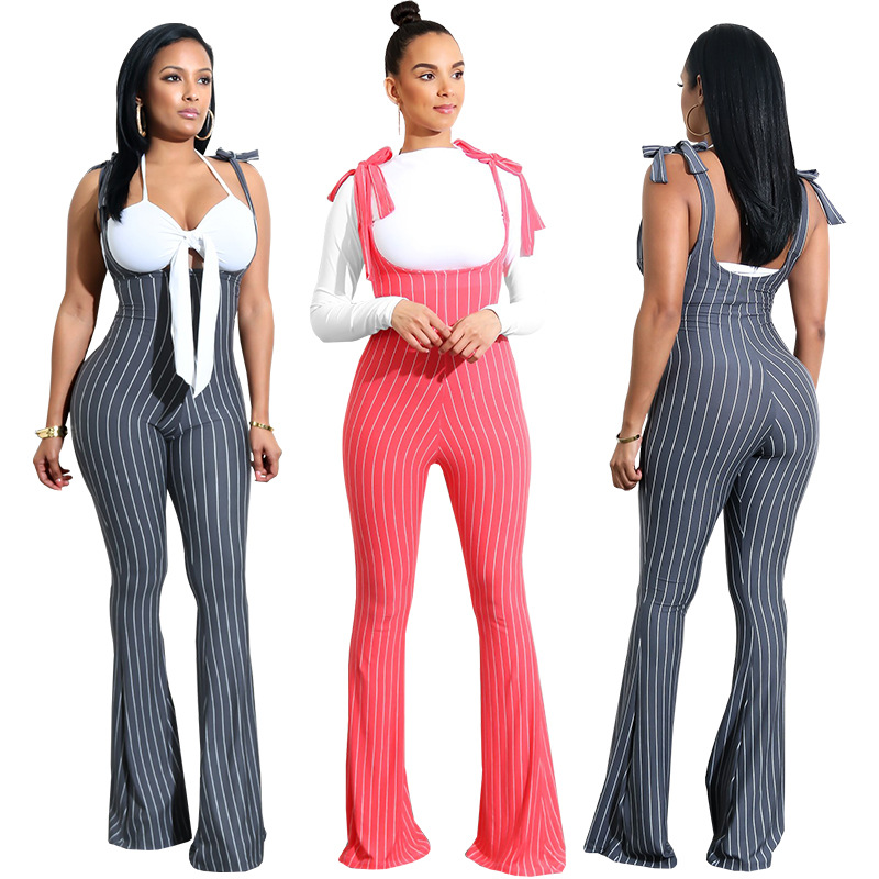 Sleeveless Summer Style Casual Rompers Women Jumpsuit Ladies Sexy Red And Black Color Vertical Stripe Backless Regular Rompers