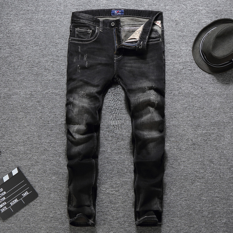 Black Color Classical Vintage Men Jeans Fashion Designer Slim Fit Ripped Jeans Homme Cotton Pants Italian Style Simple Jeans Men