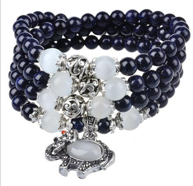 Original handmade natural crystal bracelet natural blue gravel retro elephant shell beads multilayer bracelet