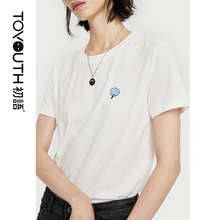 Toyouth Women T shirt Summer O neck Embroidery Pattern Cotton Solid Color Female Tops