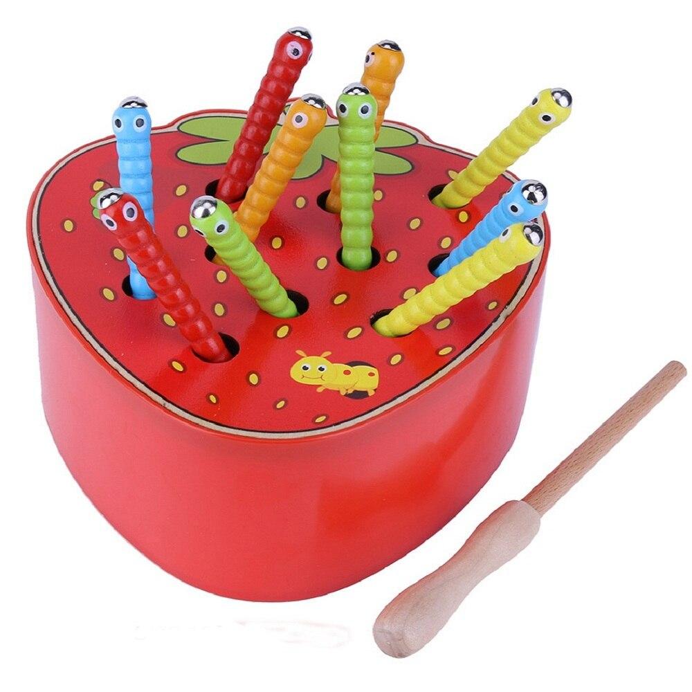 Die Wurm Spiel Magnetic Holz Spielzeug für Kinder Kinder Früh Pädagogisches Spielzeug Bunte Puzzle Spiel Holz Lernen Spielzeug