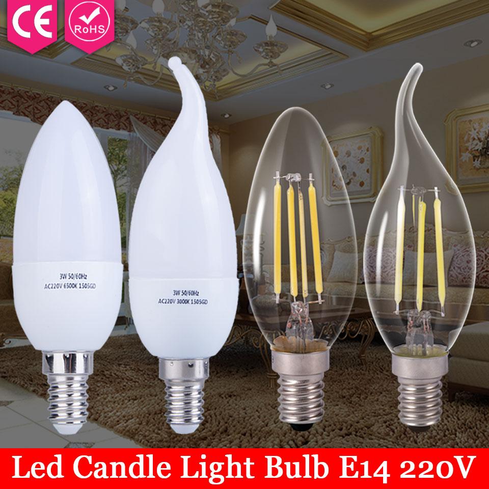 Edison Glass Lamps Led E14 Filament Bulb Ampoule Led Candle Lights Energy Saving Bulb Home Lighting 220V 2W 3W 4W 5W Lampada Led led gold deco chandelier bulbs candle light e14 85 265v 5w lamps
