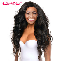 Wonder Girl Malaysian Body Wave Full Lace Wig Natural Color Non Remy Pre Plucked Wig Full