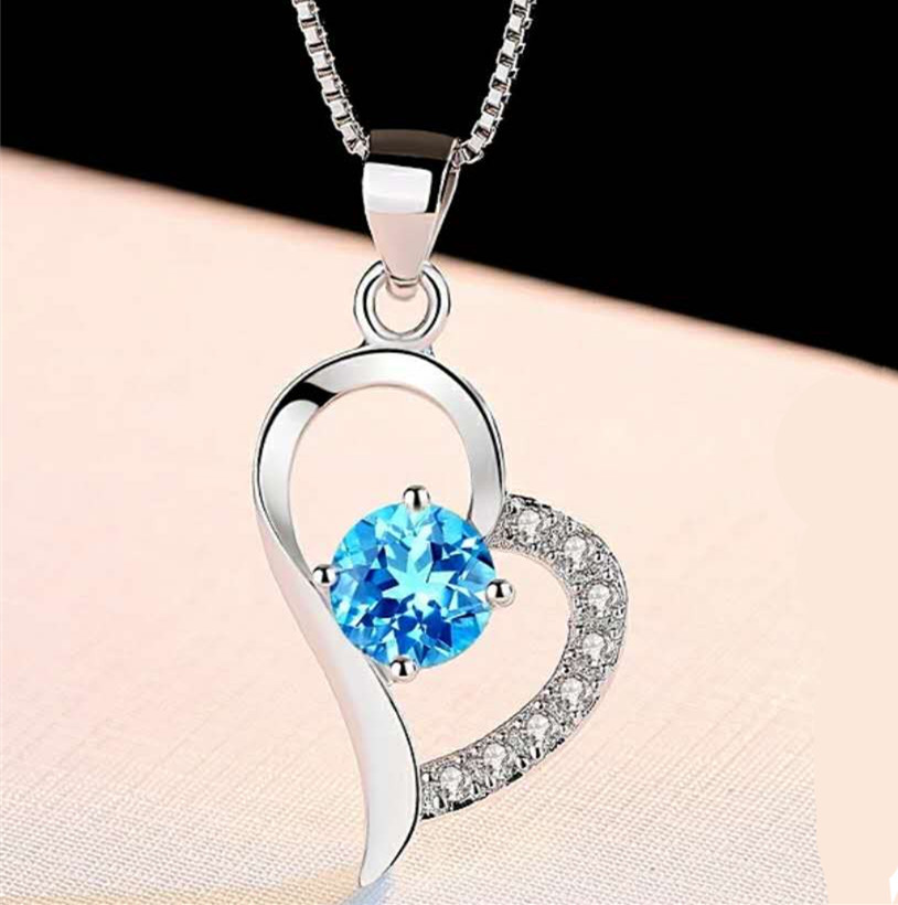 Korean 925 sterling silver Blue crystal hearts necklace pendant blue crystal pendant crystal clear chain jewelry in Pendants from Jewelry Accessories