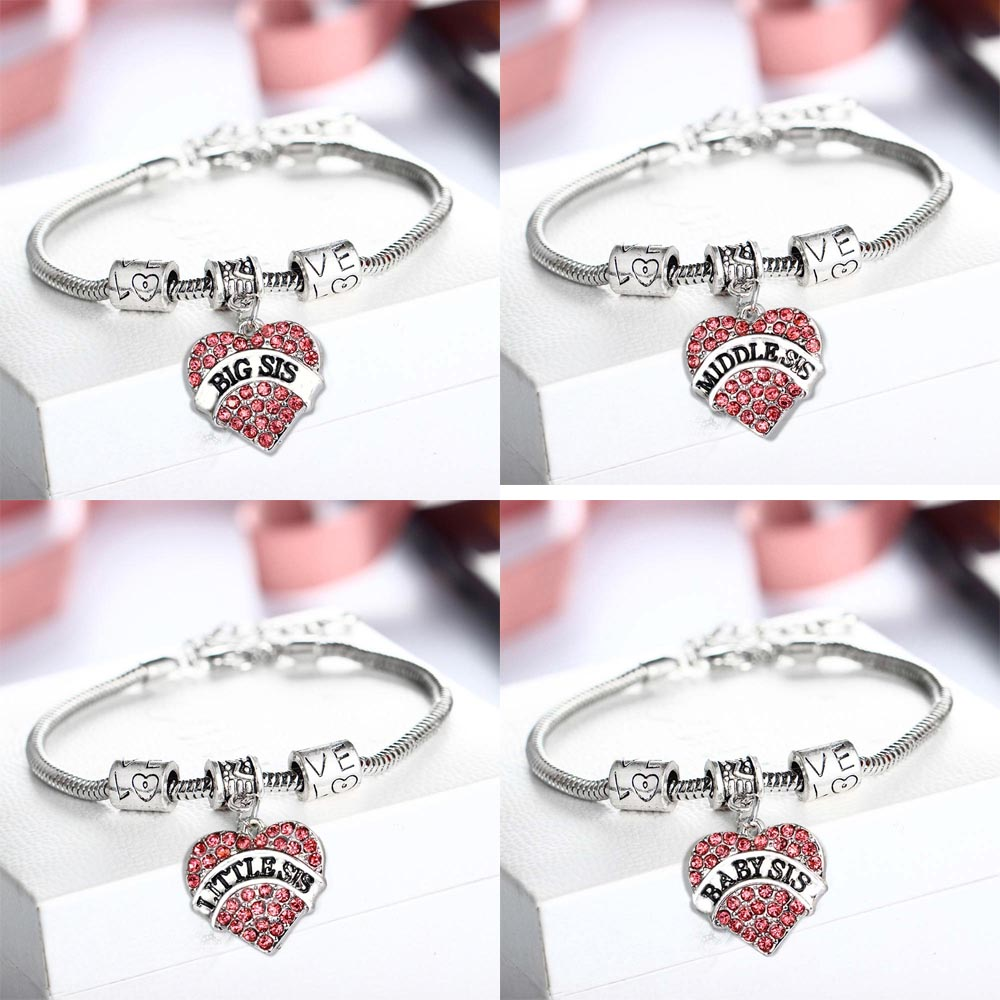 Family Sister Sis Pink Crystal Heart Bracelet Love Beads Bangles Women Friends BFF Charm Jewelry Friendship Party Gift Wristband