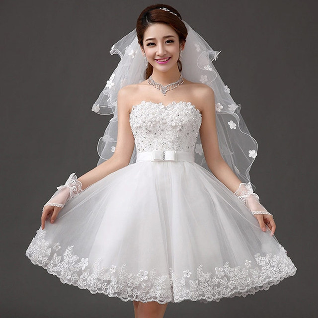 Strapless Short Wedding Dress 2016 White With Flowers Sweetheart Puff Skirt Fashionable Wedding Dress bridal gown casamento