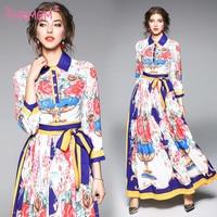 Fashion 2018 Runway Designer Maxi Long Dress Women's Loose Flare sleeve Belt Printed Long Gown Holiday Elegant Dresses AMBMCM