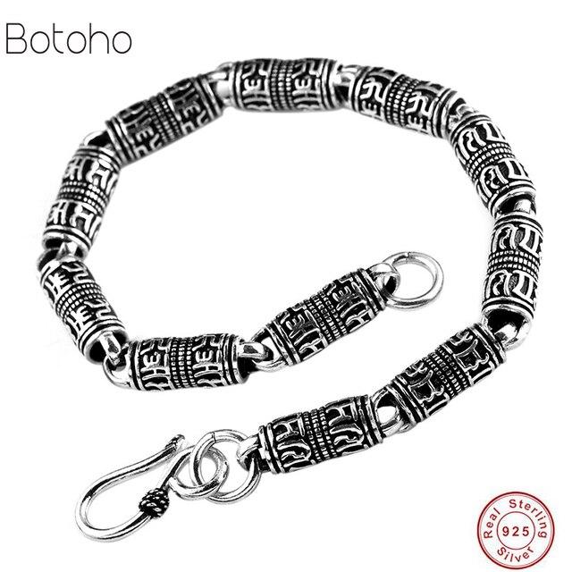 fd1bb3d1f36a € 18.57 30% de DESCUENTO|Pulsera de plata de ley 925 para hombre y mujer  estilo retro minimalista negro plata antigua 925 pulsera de cadena para ...