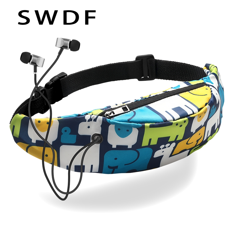 SWDF New fashion waterproof 3D printing fashion movement waist bag women fanny packs belt bum bag waist packs 2018 for women(China)
