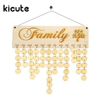 Kicute 1pcs Wooden Calendar Board Family Friends Birthday Calendar Sign Special Dates Planner Board Hanging Decor