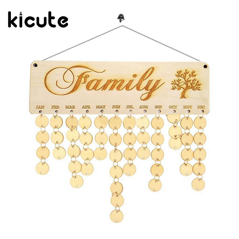 Kicute 1pcs Wooden Calendar Board Family Friends Birthday Calendar Sign Special Dates Planner Board Hanging Decor Gifts for Kids vodool diy wooden birthday calendar family celebrations wall calendar write special dates planner board hanging decor gifts