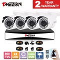 Tmezon 8CH 1080H DVR 4pcs 800TVL Camera Security Surveillance CCTV System Outdoor Waterproof IR-Cut Night Vision 1TB 2TB HD Kit