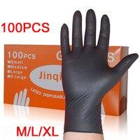 Leshp 100 pçs/set limpeza doméstica lavagem luvas de mecânico descartável preto nitrilo laboratório arte do prego luvas antiestáticas
