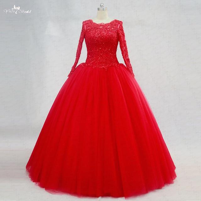 7c9e4d129 RSE750 Lace Up Dulce 16 Vestidos de Manga Larga Vestidos Del Quinceanera  Rojo