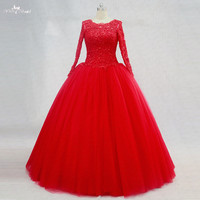 RSE750 Lace Up Sweet 16 Dresses Long Sleeve Red Quinceanera Dresses
