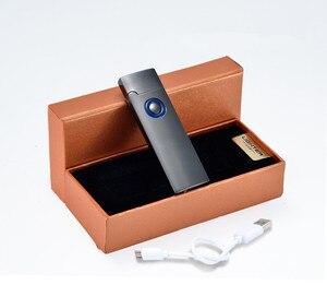 Image 4 - Ultra Thin USB Leichter Wiederaufladbare Elektronische Leichter Alle Metall Frosted LED Licht Zigarette Zubehör Turbo Feuerzeug Plasma