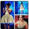 Árabe cantor moda tanque acima do joelho Mini estrela Custome 2016 celebridade do tapete vermelho vestido
