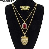 TOPGRILLZ Altın Renk Kaplama Aslan Kolye Ve Hip Hop Buzlu Büyük kırmızı CZ Taş Kolye Hip Hop Kolye Ile Altın Diş Grillz Set